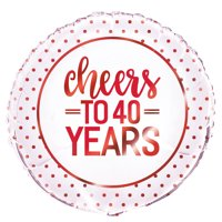 """Foil """"Cheers to 40 Years"""" 40th Anniversary Balloon, 18 in, Ruby Red, 1ct"""