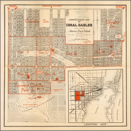 Finest Art - LAMINATED POSTER Comprehensive Map of Coral Gables George E. Merrick America's Finest Suburb . . . 1924 POSTER PRINT 24 x 36