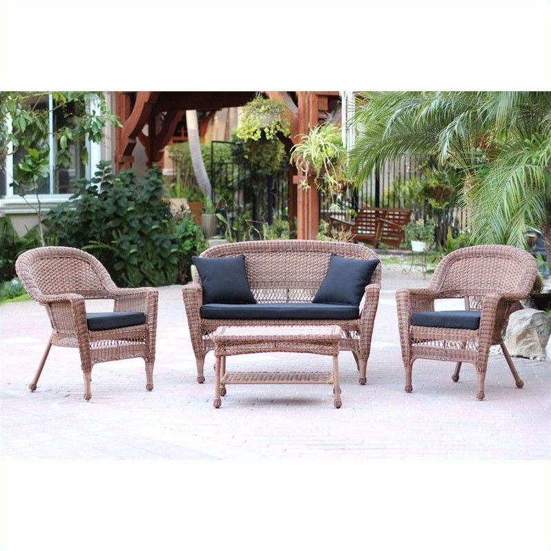 Jeco 4pc Wicker Conversation Set in Honey with Black Cushions