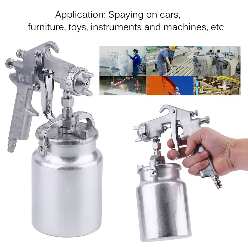 2018 New Upgraded Air Compressor Hand Manual Paint Spray Gun Professional Pneumatic Sprayer 1000CC Aluminium Cup DIY Tool For Painting Cars(Silvery White)