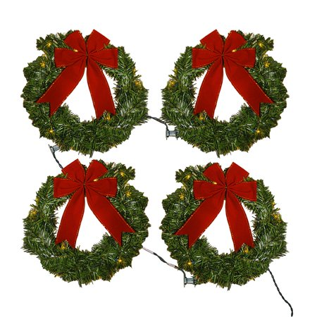 Window Lit Christmas Wreath Set 4 with Red Bows Greenery Plug-In Indoor Outdoor Holiday Decoration Décor Lighting Greenery - Green Christmas Wreath Pattern