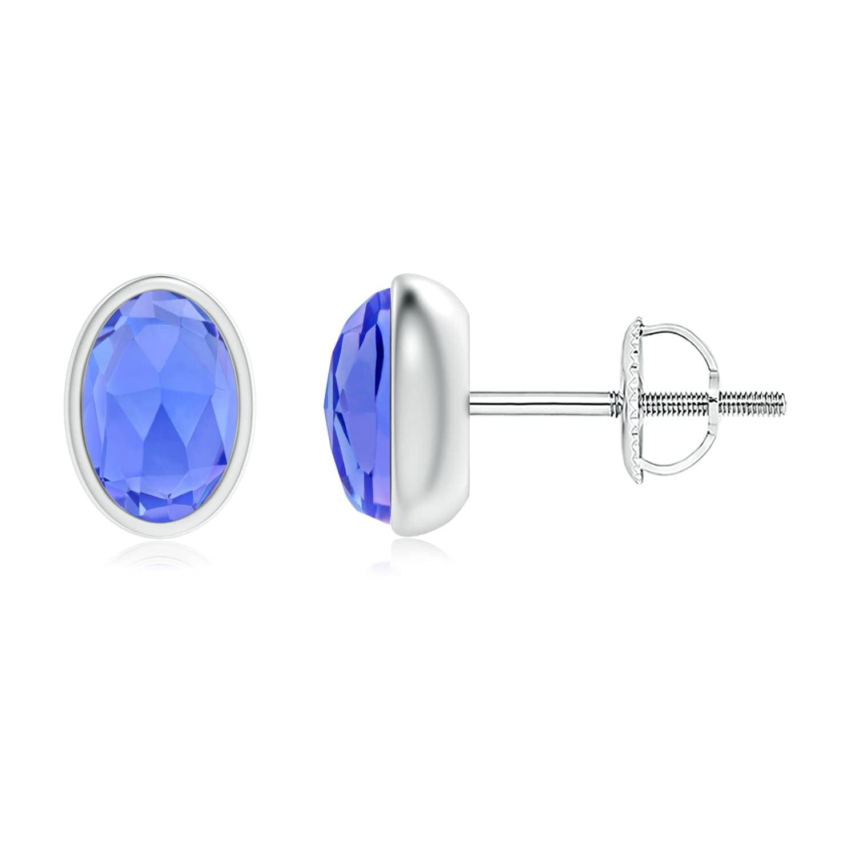December Birthstone Earrings Bezel Set Oval Tanzanite Solitaire Stud Earrings in .925 Sterling Silver SE1502T-SL-AAA-6x4 by Angara.com