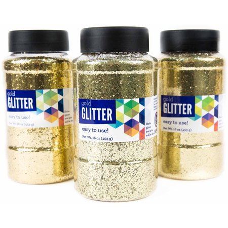 Horizon Group Usa Gold Glitter 16 Oz   3Pk