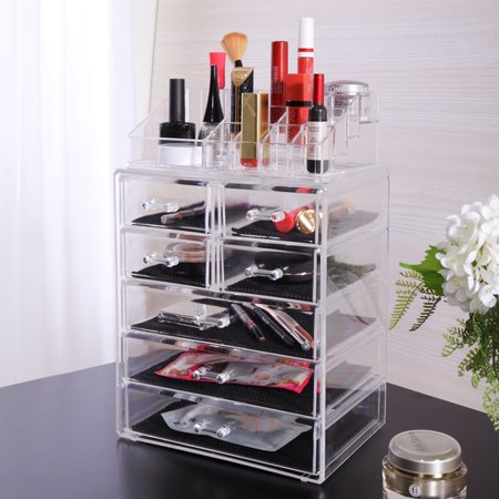 Jaxpety Acrylic Jewelry Cosmetic Organizer Makeup Case Display Holder Drawer Box Storage