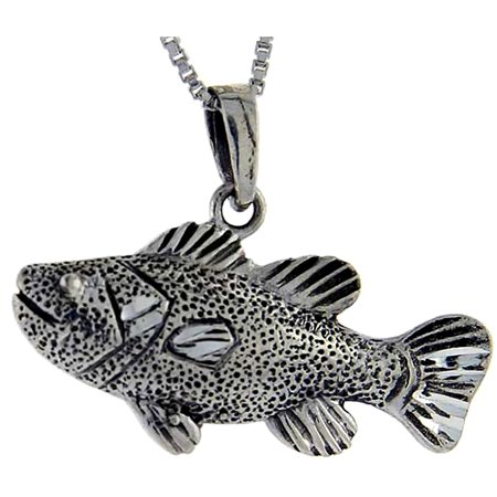 Sterling silver bass fish pendant 1 inch tall for Silver bass fish