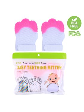 2Pcs Baby Crawls Molar Ice Silk Gloves Mitten Toddler Teether Protective Glove - Pink