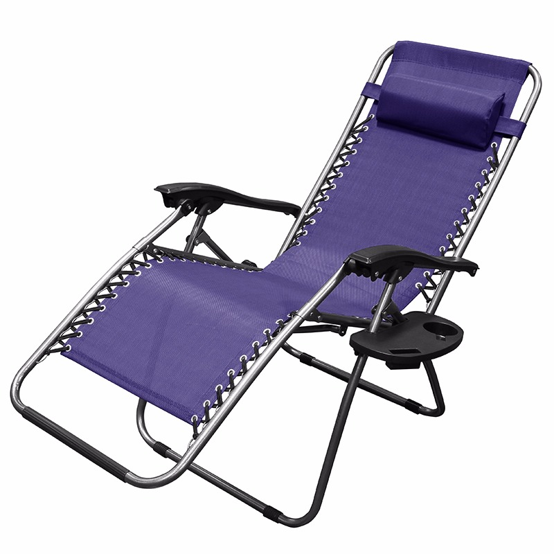 Captivating Patio Zero Gravity Chair Folding Lounge With Cup Holder Outdoor Yard Beach    Navy