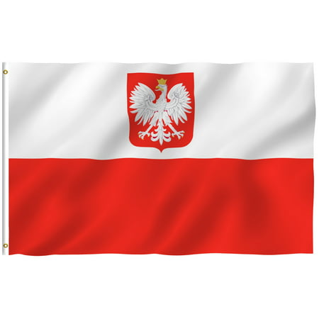 ANLEY [Fly Breeze] 3x5 Feet Poland State Ensign Flag - Vivid Color and UV Fade Resistant - Canvas Header and Brass Grommets - Polish PL Banner Flags