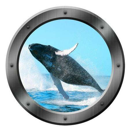 VWAQ Whale Ocean Porthole Wall Decal Sea Animal Sticker Nature View Family Wall Decal VWAQ-PO6