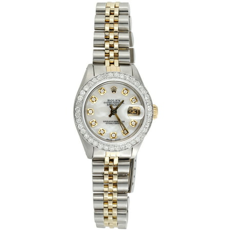 Womens Rolex Diamond Watch MOP Dial 6917 Datejust 18K/ Steel Jubilee Band 1 CT.
