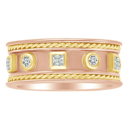 (0.38 Ct White Natural Diamond Etruscan Style Band Ring in 14k Rose Gold By Jewel Zone US)