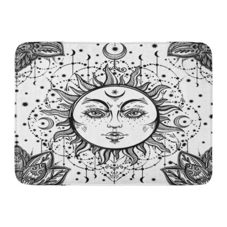 GODPOK Beautiful Floral Paisley Sun Face Medallion Pattern Ethnic and Detailed Henna Style Fabrics Coloring Book Rug Doormat Bath Mat 23.6x15.7 (Face Medallion)
