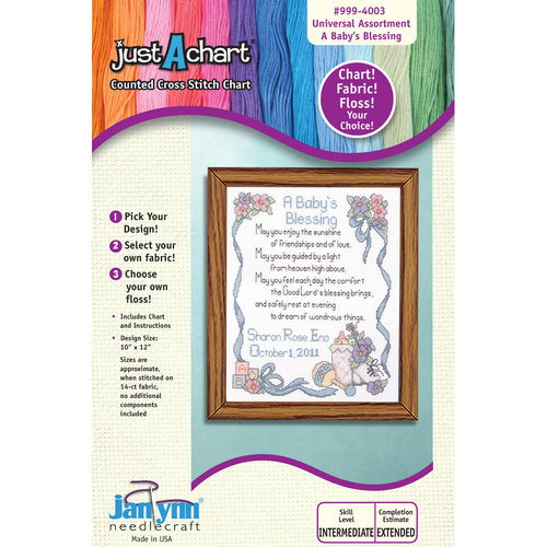 "Janlynn Just-A-Chart ""A Baby's Blessing"" Counted Cross Stitch Chart"