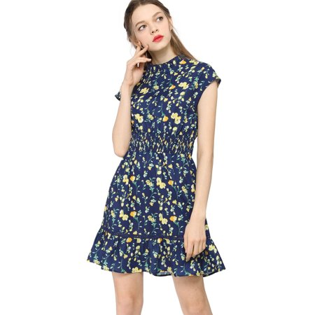 Women's Floral Cap Sleeve Smock Waist Skater Dress Blue L (US 14) - image 1 of 6