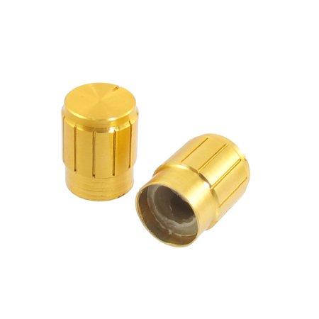 Unique Bargains 3 Pcs 6mm Round Shaft Hole Pot Audio Volume Knob Gold Tone