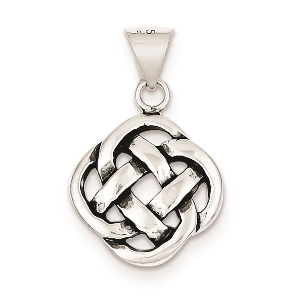 Antiqued Celtic Knot Charm Pendant 22mmx12mm 925 Sterling Silver