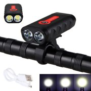 XANES 1800LM USB Rechargeable Bike Light Indicator Headlight 2*L2 4400mAh with USB Cable, Bike Mount