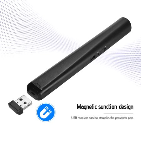 Présentateur numérique Rechargeable PowerPoint PPT Clicker Stylo à bille Présentation professionnelle 2.4GHz Télécommande sans fil Stylo à bille Pointeur Red Light avec récepteur USB Prise en charge d - image 6 of 7