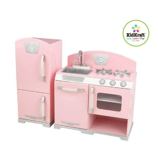 Kidkraft Retro Kitchen And Refrigerator In Pink Walmart Com