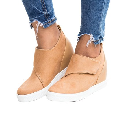 Pink Platforms Wedges Shoes - Womens Platform Wedge Heel Slip On Sneaker Loafer Shoes