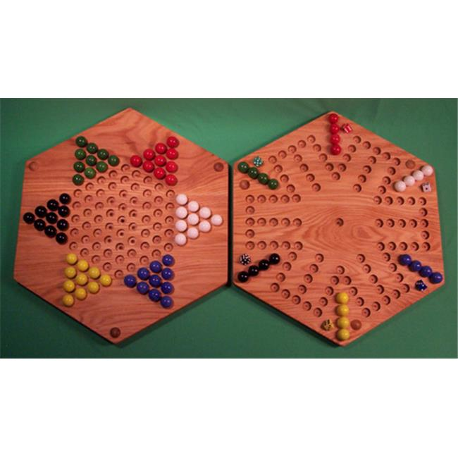 THE PUZZLE-MAN TOYS W-1964 Wooden Marble Game Board - (2 Games In 1) - 18 in. Hexagon - Aggravation 6-Player 5-Hole & Chinese Checkers - Red Oak