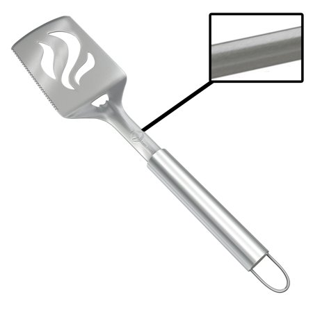 Barbecue Spatula With Bottle Opener - HEAVY DUTY 20% THICKER STAINLESS STEEL - Wide Metal Grilling Turner for Burgers Steak & Fish - Large BBQ Grill Handle - Best Cooking Utensils &