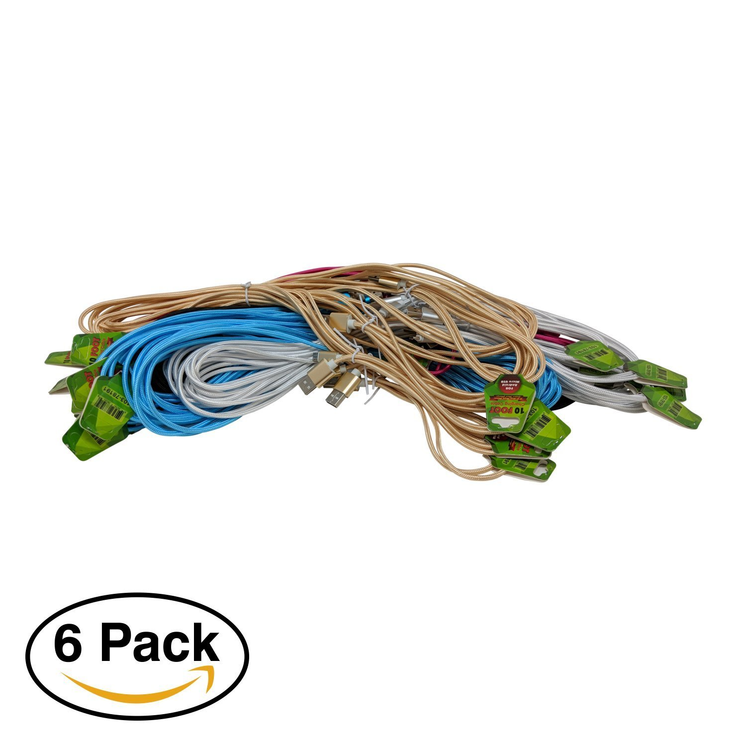 DSD 10ft Assorted Colors Micro USB C Charging Cable Cord - Portable Long Fast Charging Cable Compatible for Android and Windows smartphones, Tablet Devices (6 Pack)