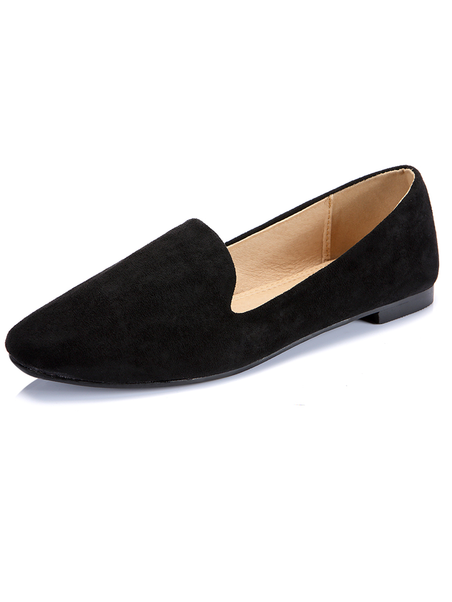 FLORATA Ballet Flats Women Slip On Comfortable Suede Ballerina Flat Shoes Square Toe Casual Boat Shoes