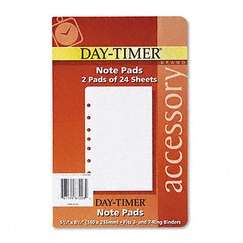 "Day-Timer Lined Note Pads for Organizer, 5-1/2"" x 8-1/2"""