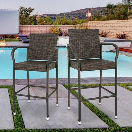 Zeny 2 Pack Rattan Wicker Bar Stool Outdoor Backyard Chair Patio Furniture W/ Armrest ()