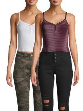 No Boundaries Juniors' Henley Cami, 2 Pack