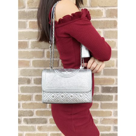 ce6f31dcb96 NWT Tory Burch Small Fleming Quilted Leather Shoulder Bag Crossbody Spark  Silver Image 1 of 10