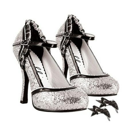 Ellie Shoes E-453-LACEY 4 Heel Sandal 7 / Silver -