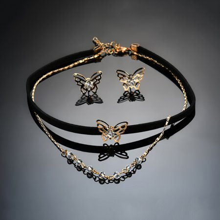 Girl12Queen Fashion Lady Butterfly Charm Double Layer Choker Necklace Ear Studs Jewelry - Stud Choker