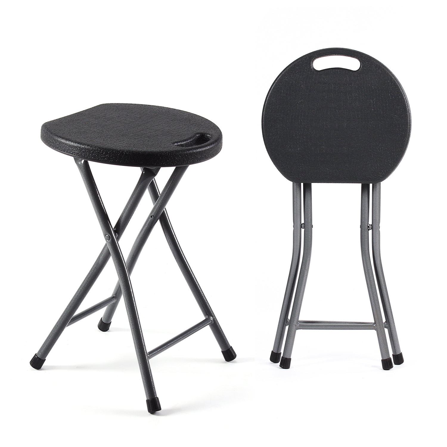 TAVR Metal and Plastic Folding Stool ,Folding Chair ,Outside Chair  2-Pack (Black)