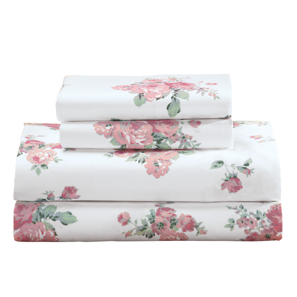 4 Pcs Floral Sheet Set Flat//Fitted//Pillowcases Rouge Pink Rose on White