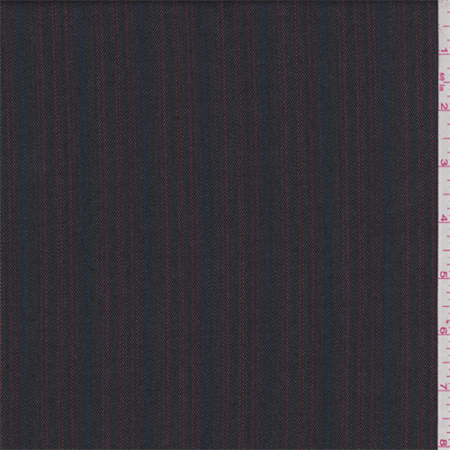 Slate Black Multi Stripe Twill Suiting, Fabric By the Yard