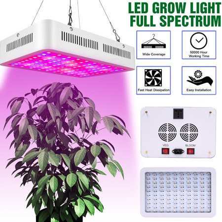 Led Grow Light Kits, Newest 600W Led Plant Grow Lights, Dual Chips Full Spectrum Plant Light with Daisy Chain, Double Switch Grow Lamp for Indoor Plants Veg and Flower, Succulents, Seedling,