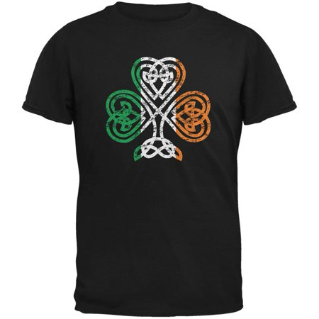 St. Patricks Day - Shamrock Knot Black Adult T-Shirt - Shamrock Skirt