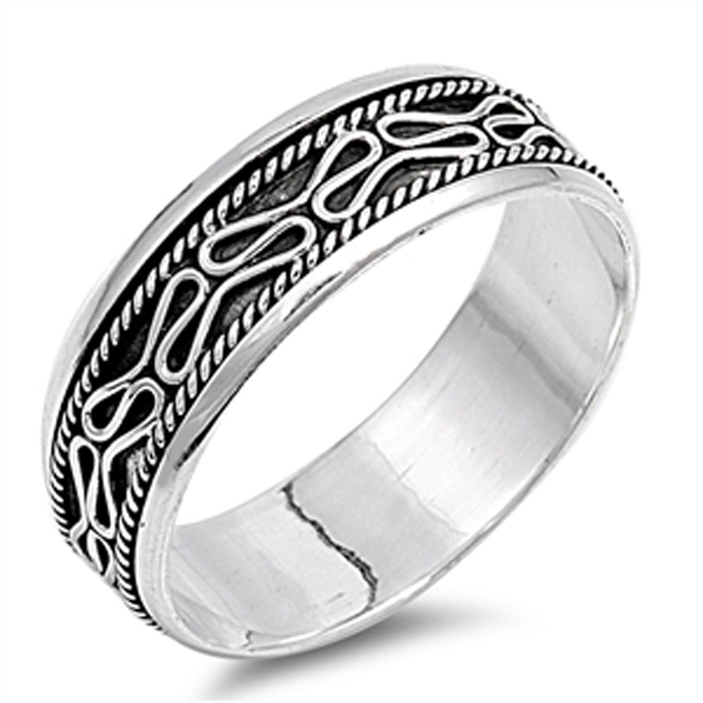 Men's Swirl Design Wedding Ring ( Sizes 6 7 8 9 10 11 12 13 ) .925 Sterling Silver Bali Rope Band Rings by Sac Silver (Size 13)