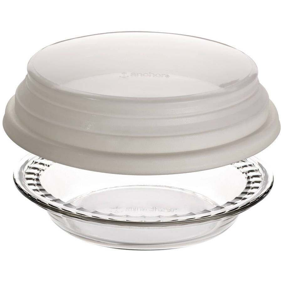 "9.5"" Deep Pie Dish with Wide Fluted Edge and Expandable Cover"
