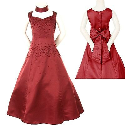 Girl National Pageant Wedding Formal Party Dress Burgundy Size 6 8 10 12 14 16