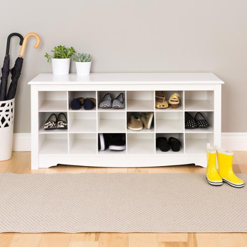 Prepac Manufacturing Winslow White Shoe Storage Cubbie Bench