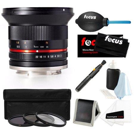 Rokinon 12Mm F2 0 Ultra Wide Angle Lens  Mft Mount   Black    Accessory Bundle
