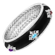 Regal Motif Bangle Bracelet with Multi-Gems in Sterling Silver-Plated Brass