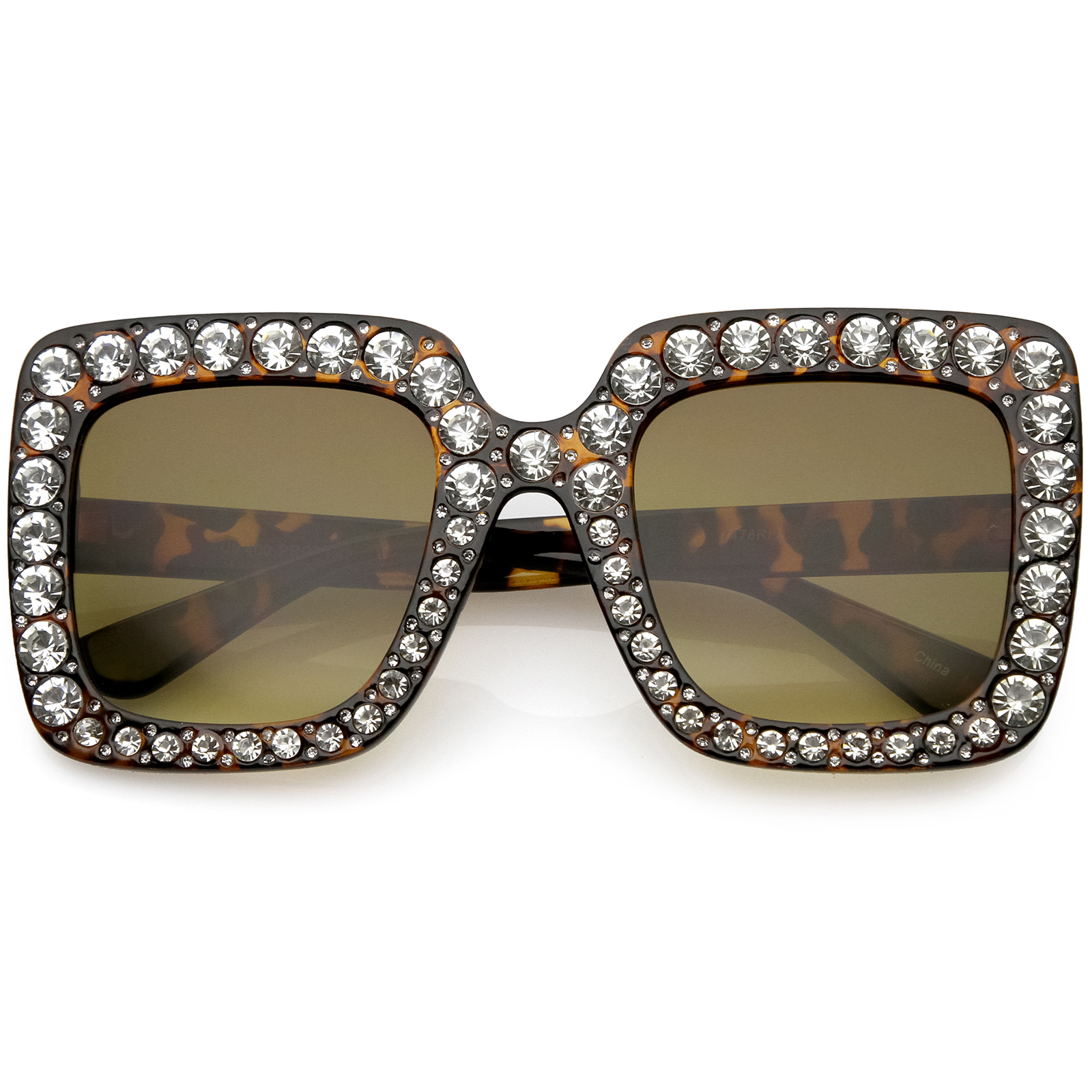 sunglassLA - Designer Oversize Square Sunglasses Crystal Rhinestone Gradient Lens 52mm - 52mm