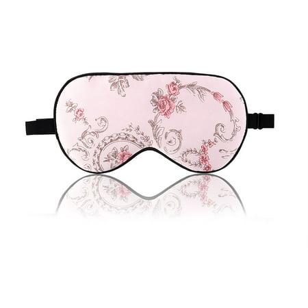 Natural Silk Sleeping Mask with Adjustable Strap Supersmooth Eye Mask Pink Rose (Sleep Mask Pink)