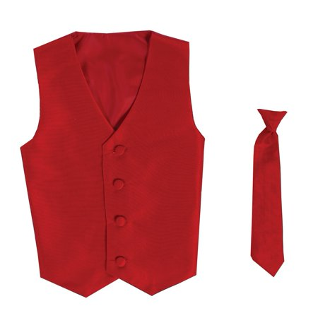 Baby Boys Red Poly Silk Vest Necktie Special Occasion Set 3-24M](Silk Spectre Outfit)