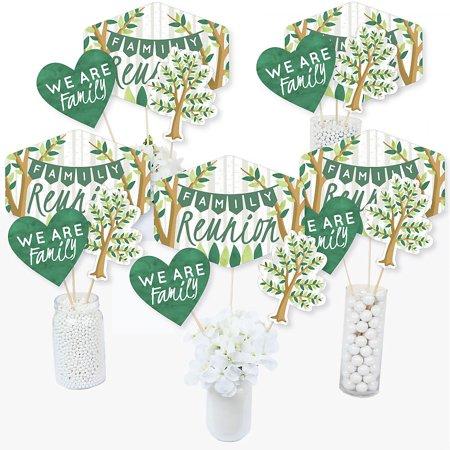 Gathering Centerpiece (Family Tree Reunion - Family Gathering Party Centerpiece Sticks - Table Toppers - Set of 15)