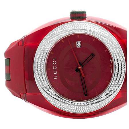 a6ef8d989cd Gucci - Mens Analog Sync Red 46MM Diamond Watch YA137103 (1.25 Ct) -  Walmart.com